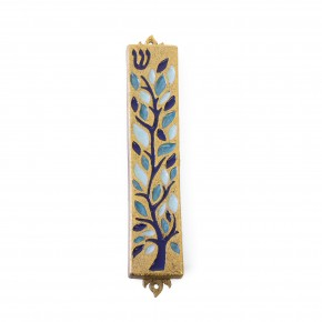 Stained Glass Mezuzah - Blue