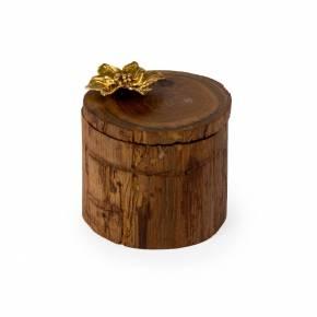 Teak Wood Flower Salt Cellar hover